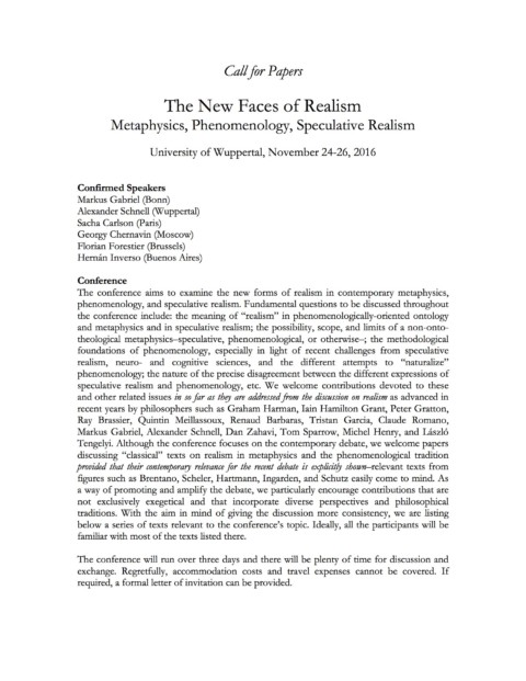 Call for Papers – The New Faces of Realism