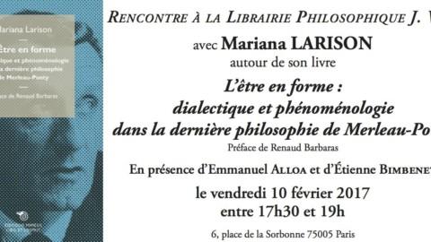 """Presentación del libro """"L'être en forme. Phénoménologie et dialectique dans la dernière philosophie de Merleau-Ponty"""""""