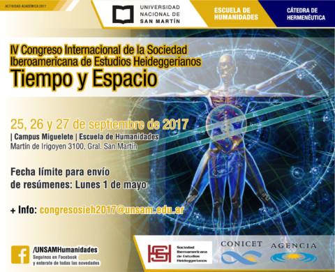 """IV Congreso Internacional de la Sociedad Iberoamericana de Estudios Heideggerianos """"Tiempo y Espacio"""""""