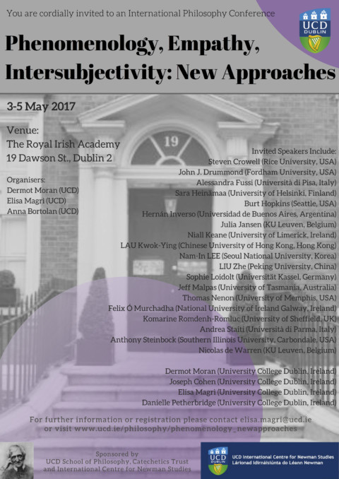 "International Philosophy Conference. ""Phenomenology, Empathy, Intersubjetivity: New Approaches"" – Dublin, 3-5/5/17"
